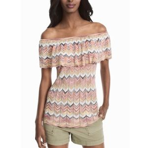 WHBM Off the Shoulder Chevron Sweater Top
